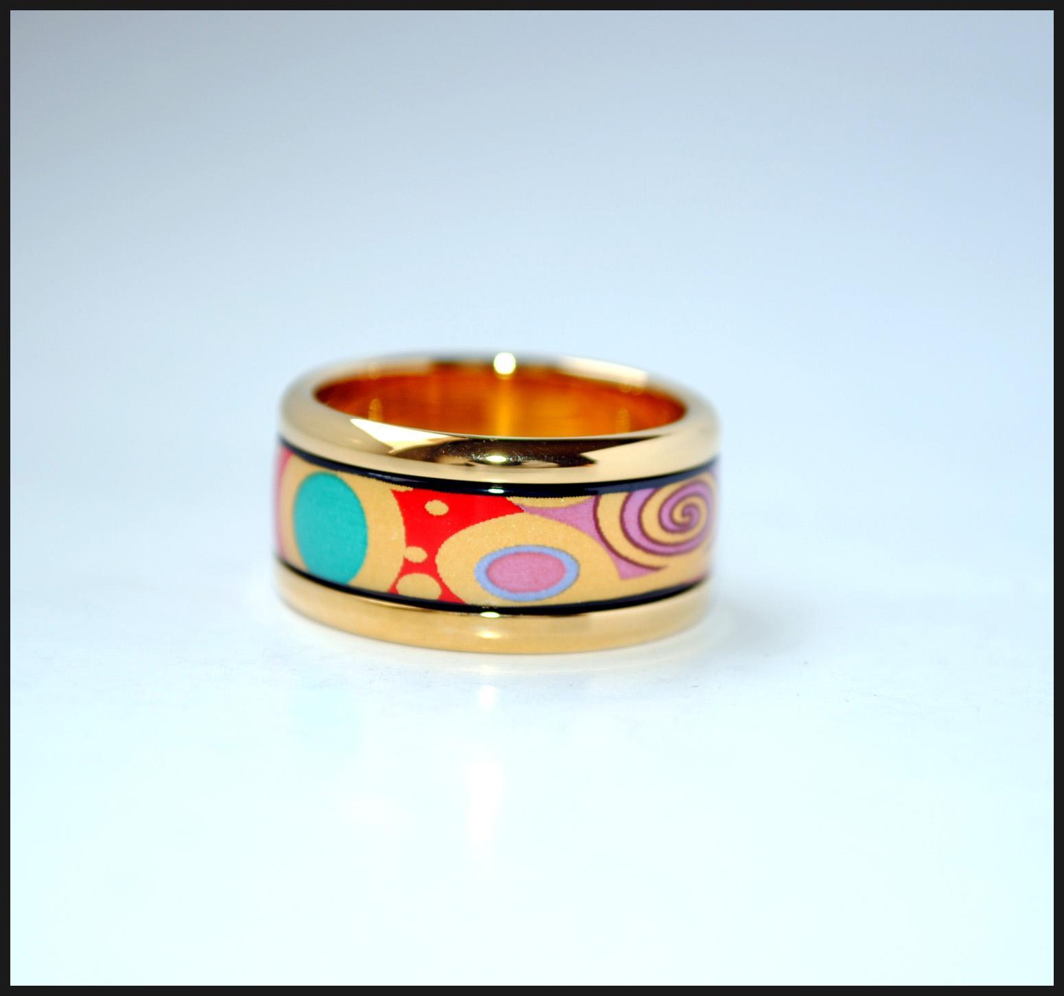 Tree of Life series 18K anillos de esmalte dorado Anillo de calidad superior para mujeres anillos de banda para regalo