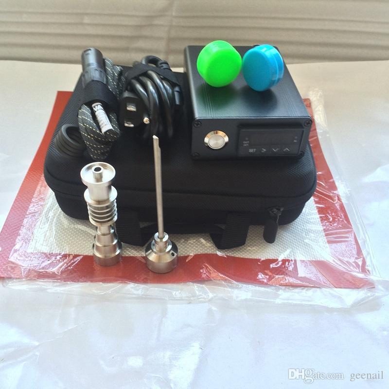 Portable E dab NAIL strumenti tampone per unghie tampone dabber PID TC control box 14 16mm cupola chiodi contenitore in silicone per vetro acqua bong