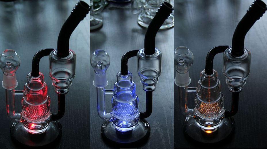 """Bong! BONG! LED ışık cam bonglar cam suyu bonglar perkolatörlerde ile 11"""" inç cam su boruları cam çivi kubbesi ve kase"""