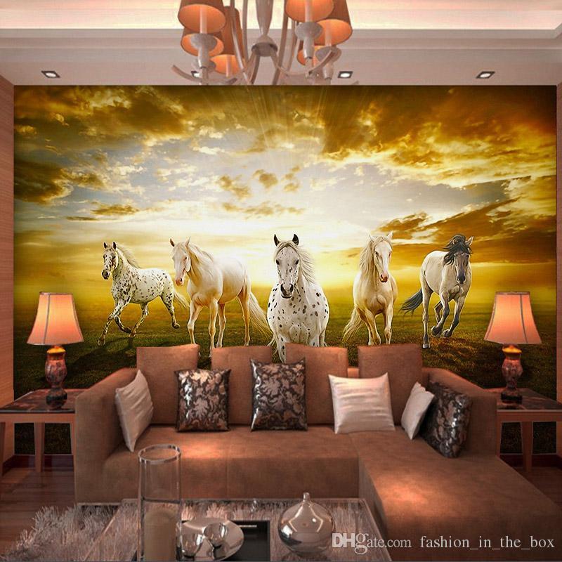 Acquista Custom 3D Horses Foto Wallpaper Charming Prairie Wallpaper  Paesaggio Murales Camera Da Letto Soggiorno Divano TV Sfondo Muro Art Room  Decor A ...