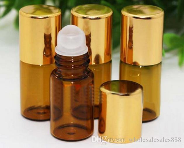 Bernsteinfarbiges Aromatherapy ätherisches Öl des Aromatherapie-3ml auf Flaschen für ätherische Öle, Parfüme, Glasroller-Ball 300Pcs / lot durch DHL-freies Verschiffen