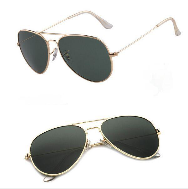 Top qualität männer frauen sonnenbrille uv400 metallrahmen glaslinse mann frau mode sonnenbrille pilot sonnenbrille