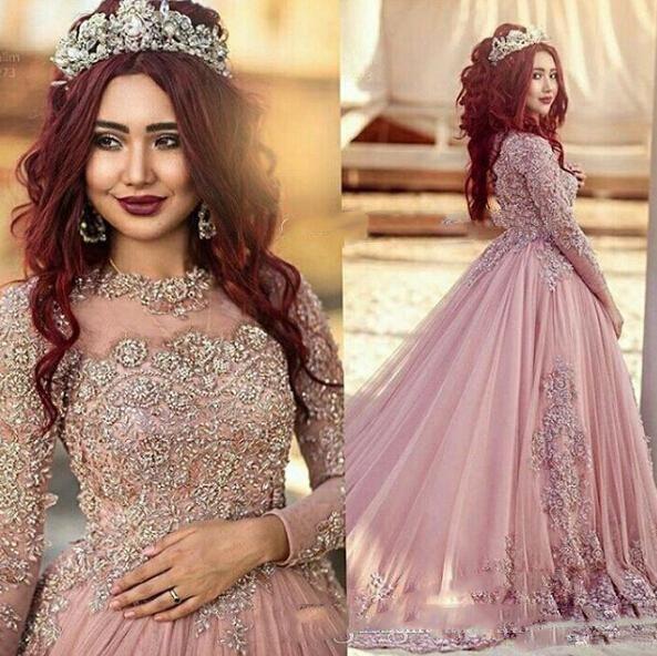 2017 robe de ball manches longues robes de mariée dentelle perlée applique personnalisé fabriqué princesse musulman de robe de mariée occidentale coloré avec paillettes