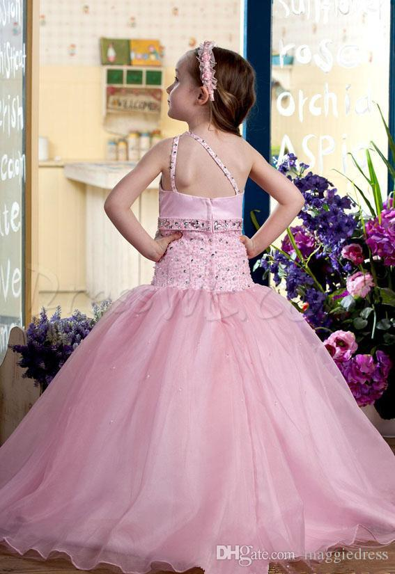 Beautiful Cheap Peach Ball Gowns Flower Girl Dresses For Wedding Party One-Shoulder Beaded Floor-Length kids prom First Holy Communion Wears