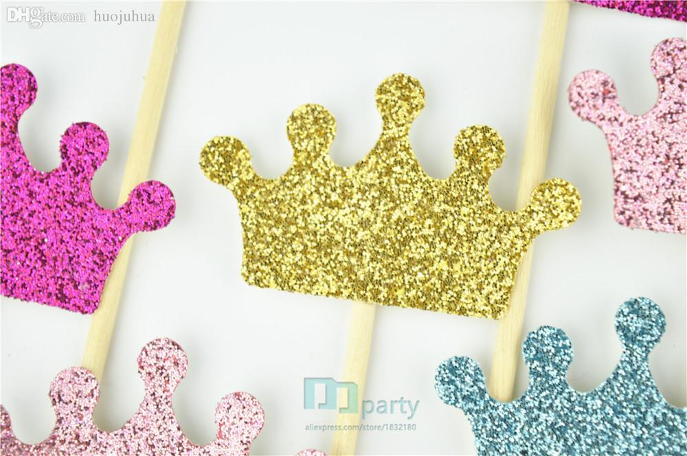 Tops cupcake gros-couronne, couronnes scintillantes, décorations de fête princesse, anniversaire prince, rose et or, couleurs personnalisées, fête de naissance