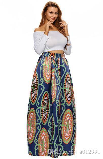 Женская Африканский цветочный принт плиссированные платье высокой талией линия макси юбка женская свадьба цветочный длинное платье абстрактный цветок Африка Макси 65008