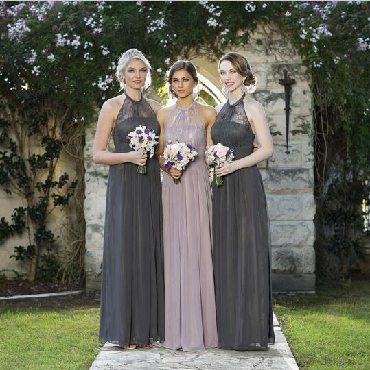 100 % 고품질 레이스 신부 들러리 우아한 드레스 홀터넥 쉬폰 드레스 웨딩 파티 우편 다시 유럽 아메리칸 스타일