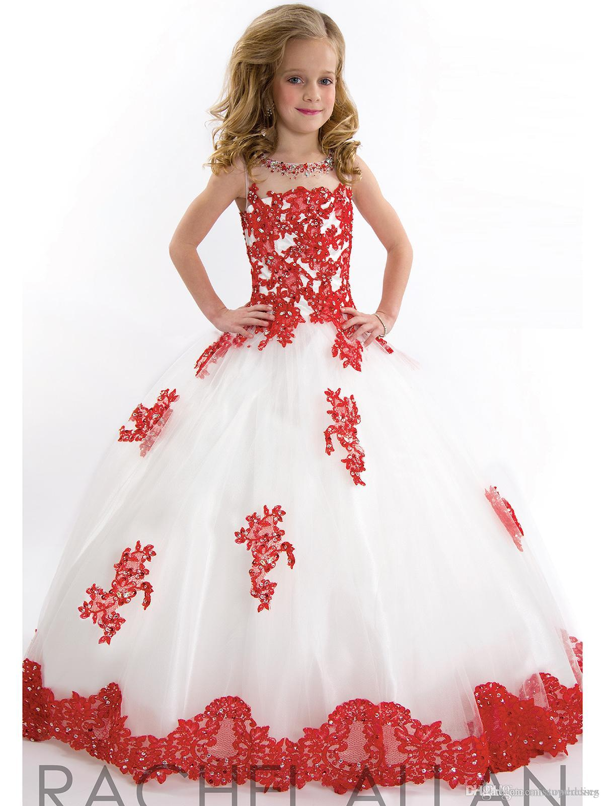2015 Best Selling White And Red Flower Girls Dresses Jewel Neck