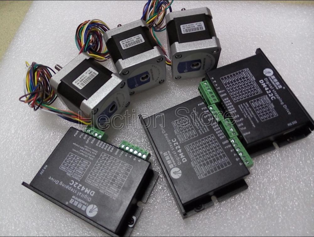 Wholesale 6 pezzi un sacco sistema di stampa 3D include 3 pz motore passo-passo NEMA 17 (0,3 Nm) e 3 pezzi Leadshine stepper driver DM422C