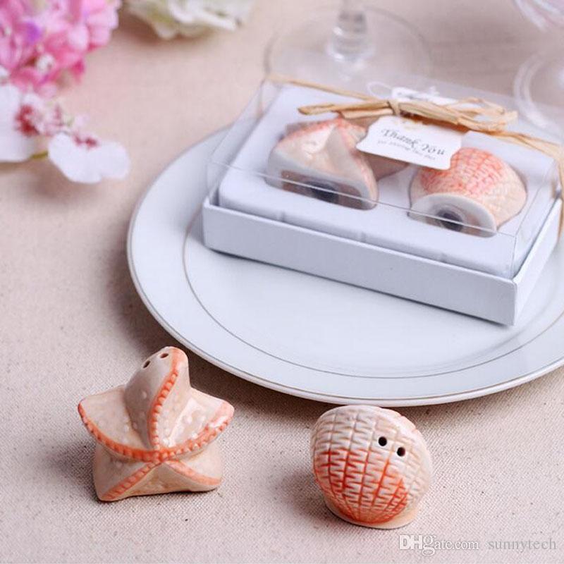 Apple Pea Starfish Shell ceramica sale e pepe Shaker Beach Favore di partito Souvenir Matrimonio regalo di Natale ZA1227