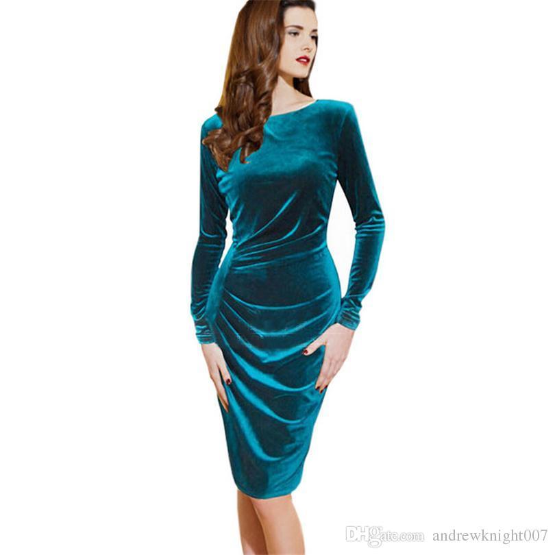 Compre Nueva Moda Caliente Mujer Primavera Otoño Dress Color Puro Suave Casual Vestidos De Terciopelo Dorado Manga Larga Casual Sexy Línea Vestidos