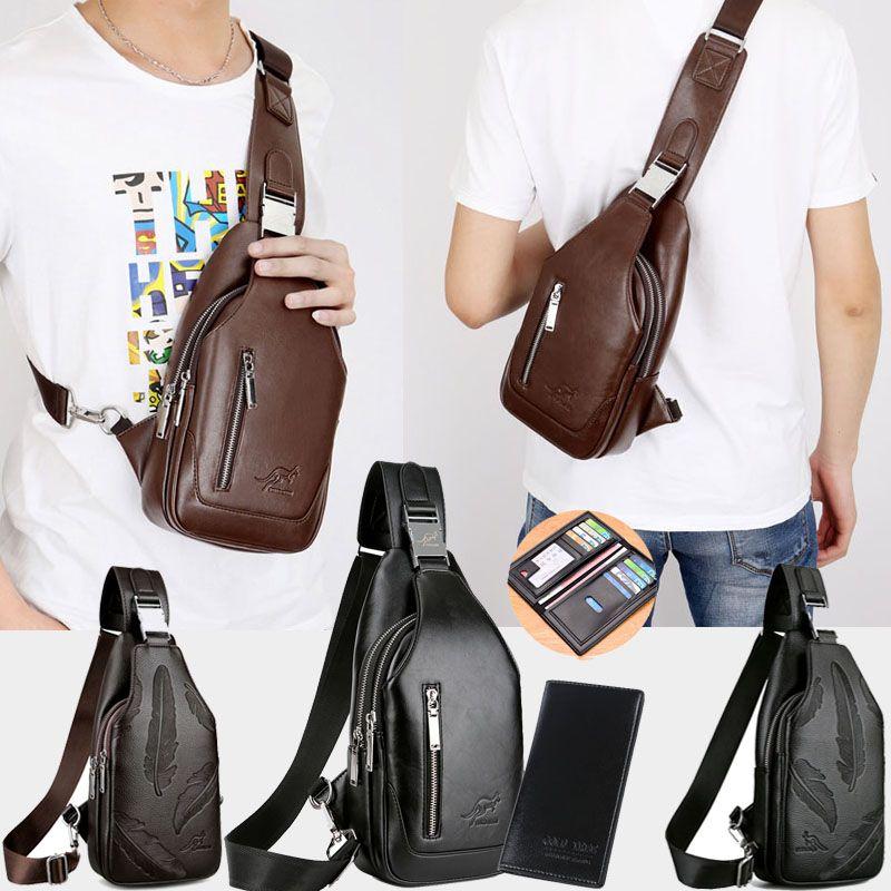 Men/'s Cowhide Leather Sling Bags Chest Shoulder Bag Crossbody Satchel Backpack