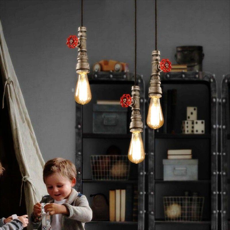 도매 - 새로운 빈티지 워터 파이프 펜던트 조명 산업 에디슨 전구 펜던트 램프 로프트 레트로 DIY 바 천장 램프 정착물 Luminarias