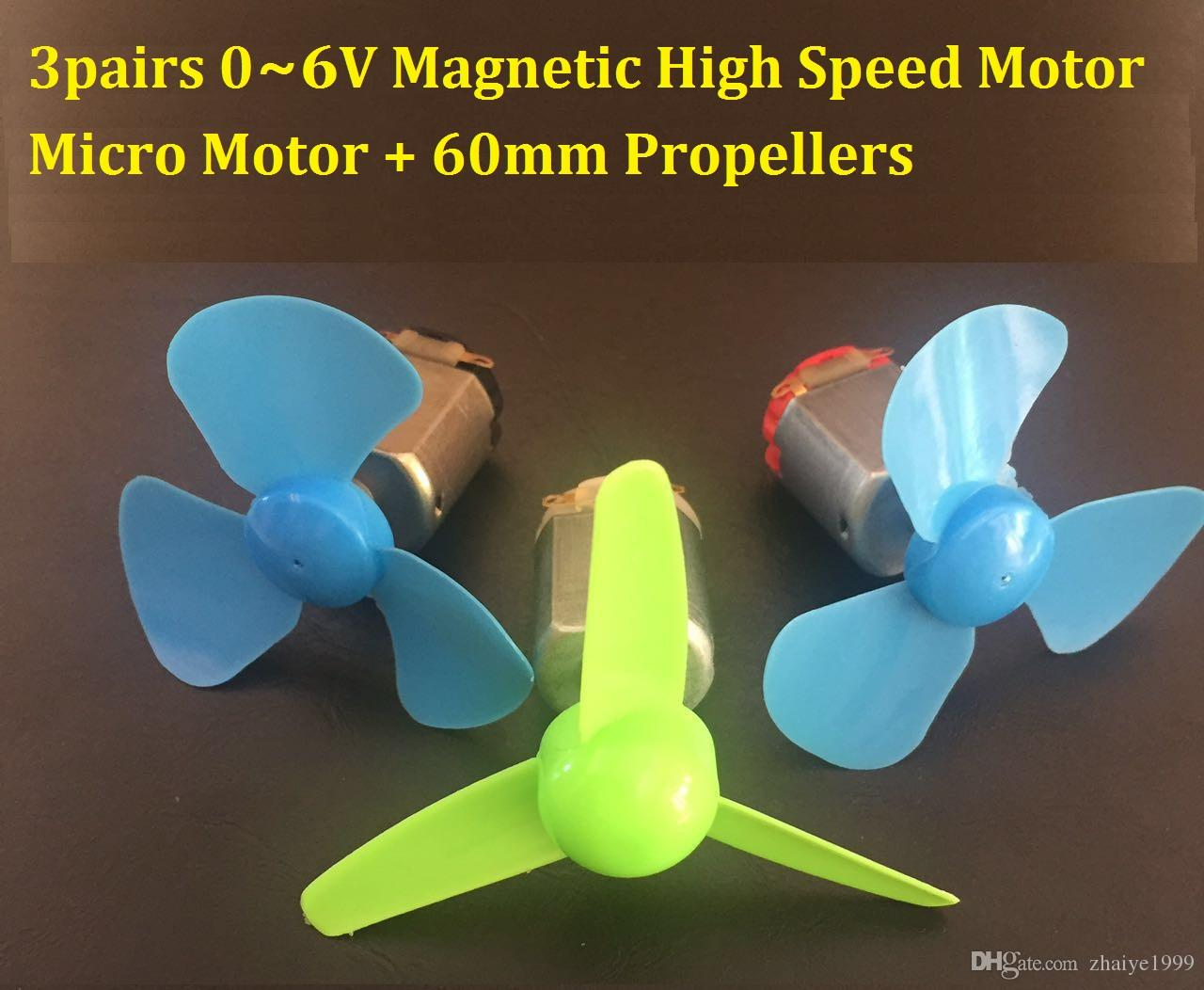 3 쌍 0-6V 소형 DC 고속 모터 + 3 60mm 팬 블레이드