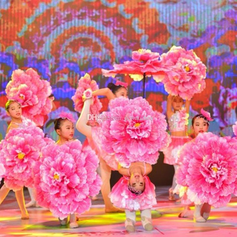 70cm Retro Chinese Peony Flower Umbrella for Children Kids Props Dance Performance Props Wedding Decoration Photograph Fancy Dress Umbrella