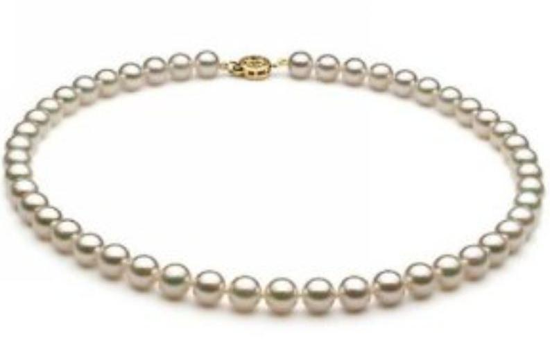Charmante natürliche 8-9mm weiße Akoya-Perlen-Halskette 18-Zoll 14k-Goldverschluss