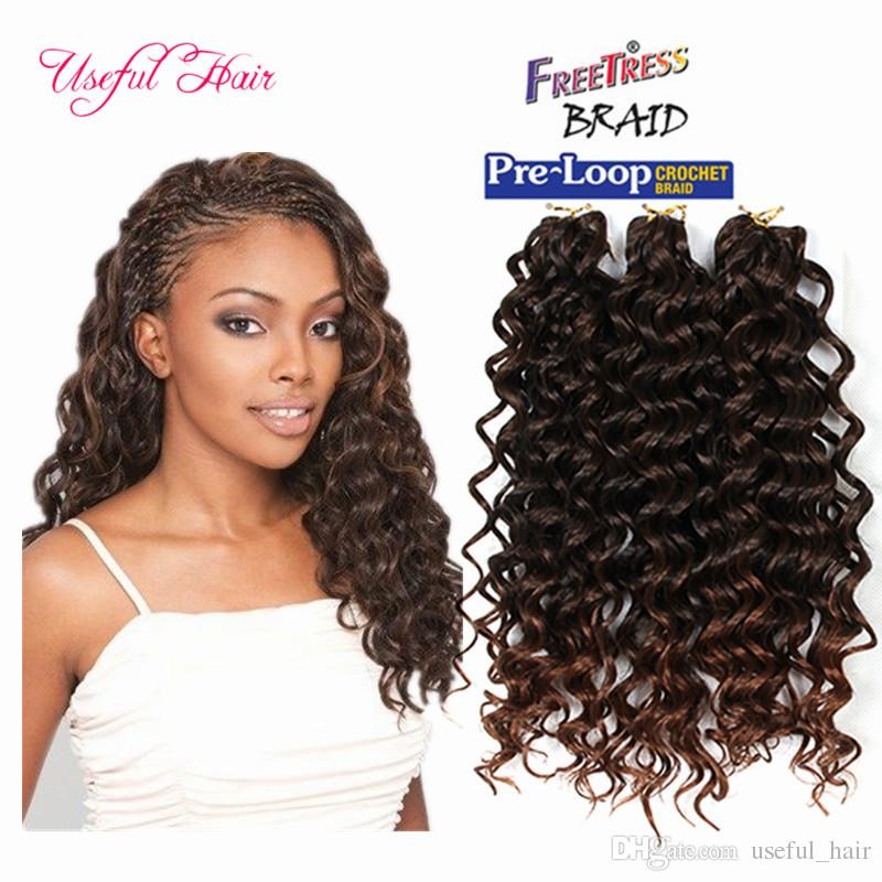 2019 Synthetic Deep Wave Style Freetress Water Wave Hair Crochet Braids Deep Curly Hair Extensions 3x Braid Savana Bohemian Hair Pack 10inch From
