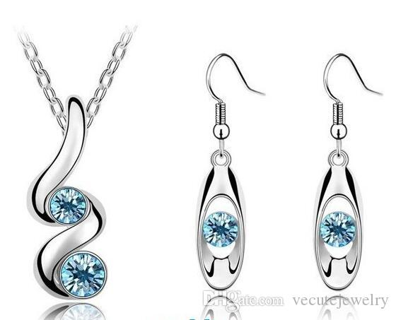 New Fashion Crystal Necklace Earrings Jewelry Set Wholesale Price Fashion crystal jewelry sets wholesale