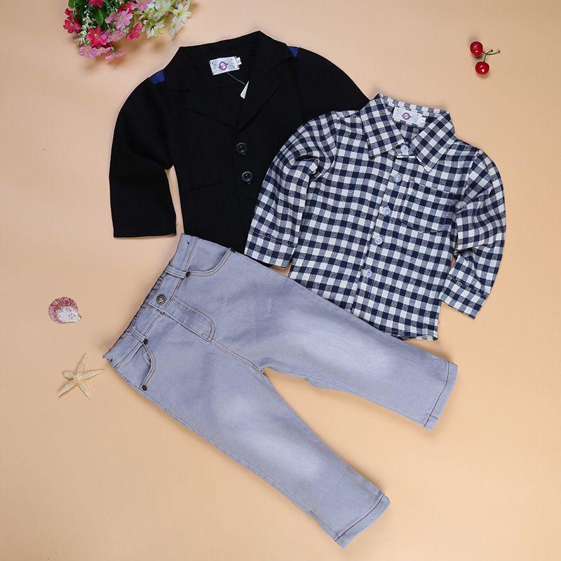 ggudd Ragazzi Plaid Camicie e Animale Stampato T-Shirt e Pantaloni Casuale 3 Pezzi Abiti Set