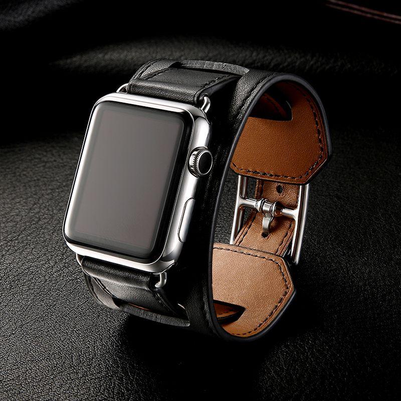 Cuero clásico de lujo pulsera de la correa de la correa de Apple Seguir 38mm 40mm 42mm 44mm banda de cuero real de serie Band iWatch 1 2 3 4 5 correa