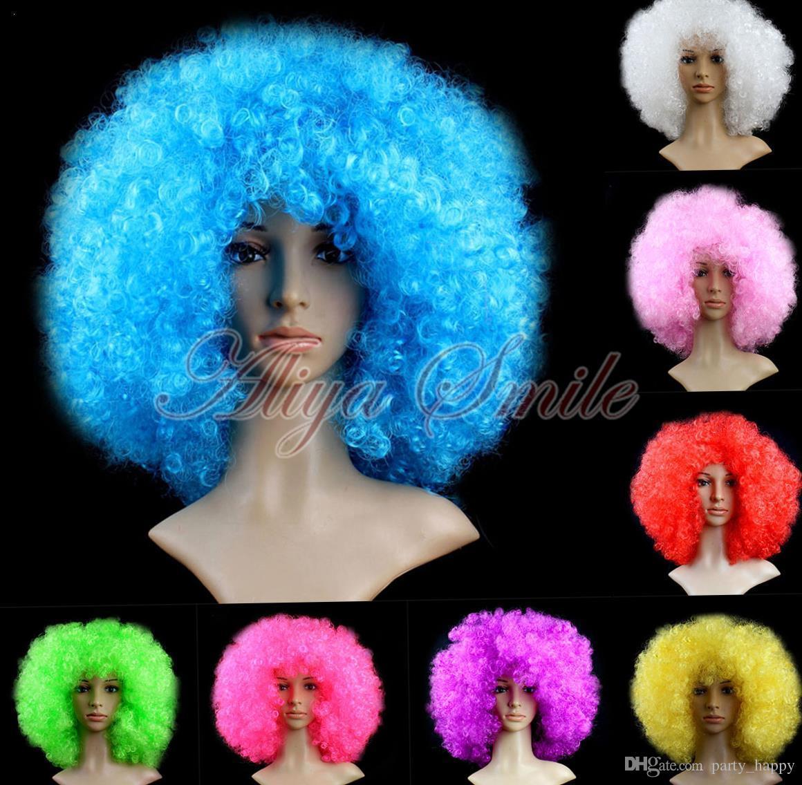 Disfraz de Halloween Payaso Rizado Circo Afro Disfraces Cabello Discotecas Color Conjunto de peluca de payaso Accesorios divertidos Fiesta de Navidad Cosplay