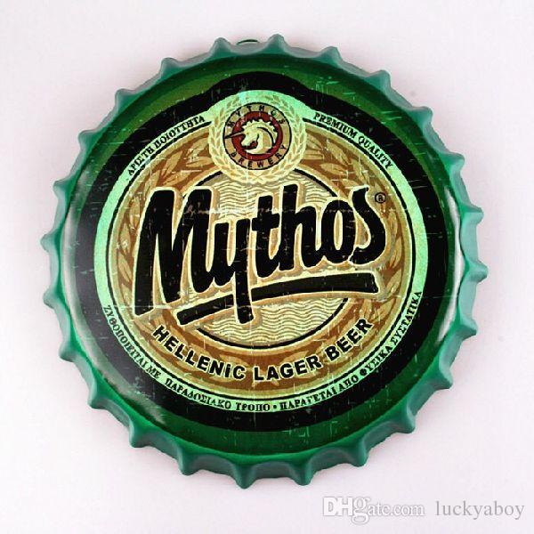 Mythos Greek beer pub bar  man cave beach metal wall decor sign plaque holiday