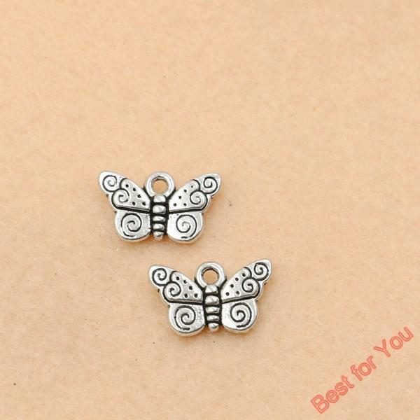 100pcs pendenti di fascini della farfalla dell'annata per monili che fanno argento tibetano placcato mestieri diy fai da te fatti a mano fabbricazione di monili 9x15mm