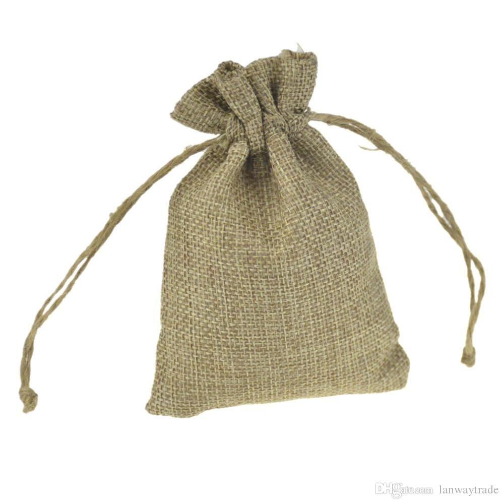 9x12 cm Küçük Sahte jüt Hessian Çuval Hediye Çanta İpli Takı Torbalar düğün iyilik için Rustik Shabby Chic kahve çekirdeği bomboniere