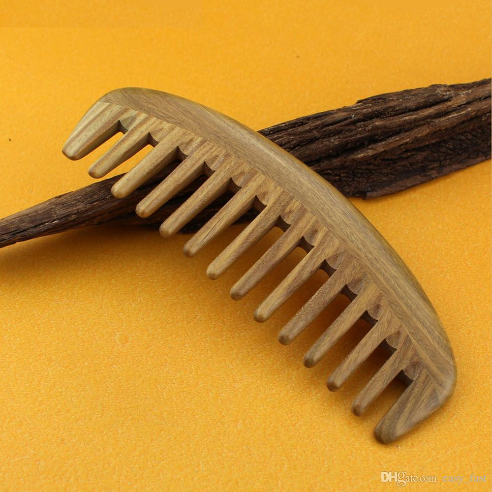 Brand New Wood Hair Comb 10pcs/lot Handle Green Sandalwood wide toothed hair care styling detangling long curly hair free shipping