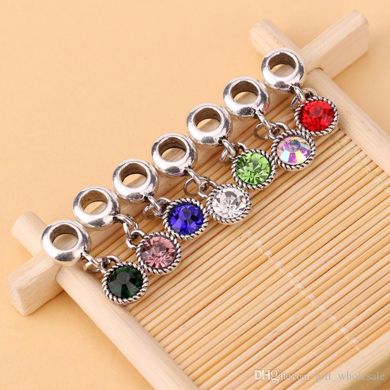 HOT SALE: 100pcs/lot 7 Colors DIY Crystal Rhinestone Round Dangle Bead Fit Charm European Bracelet