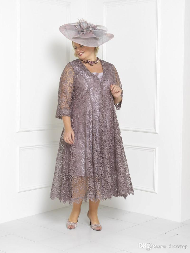 Plus Size Mother Of The Bride Dresses Sleeves Tea Length Scoop Neck Wedding  Guest Dress Custom Mothers Groom Gown With Long Lace Jacket Mother Of The  ...