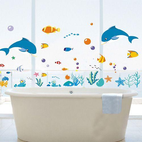 돌고래 물고기 바다 세계 벽 스티커 바다 물고기 목욕탕에 욕실에 타일 스티커 목욕탕 욕조 유리 창문 벽화
