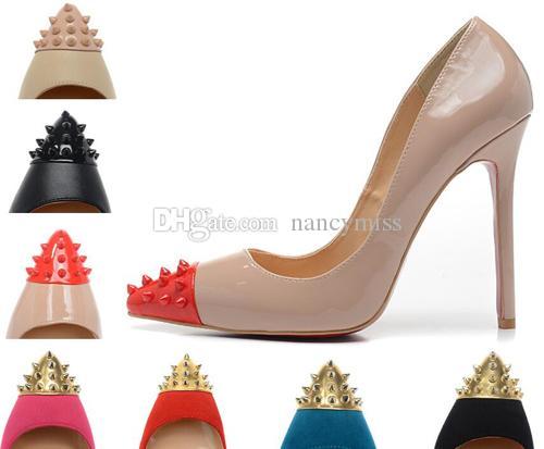 Scarpa da donna a punta in pelle verniciata nera con punte da donna, scarpe da donna con tacco alto rosso di lusso