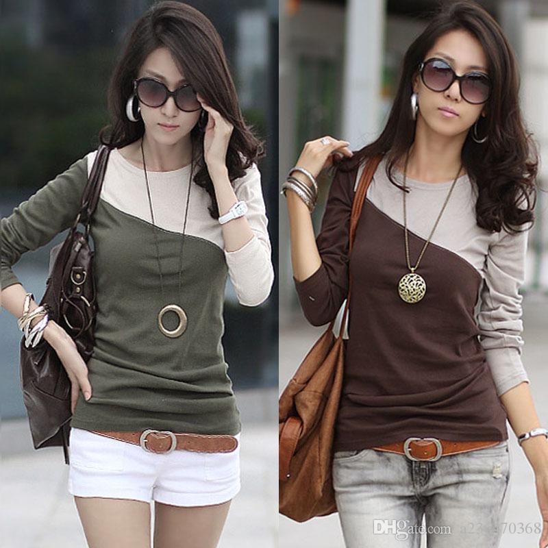 Ücretsiz kargo! Kadınlar yeni moda 6 renk patchwork pamuk t shirt ilkbahar sonbahar kadın uzun ince shrits bluzlar tepelerini manşonlu