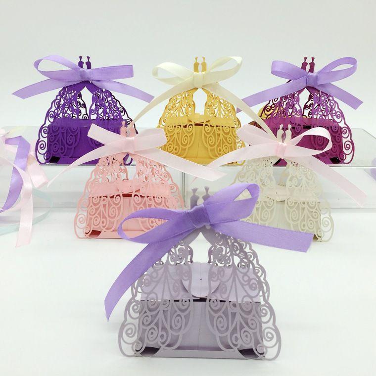 Лазерная резка полые Павлин конфеты коробка шоколадные коробки с лентой для свадьбы душа ребенка пользу подарок