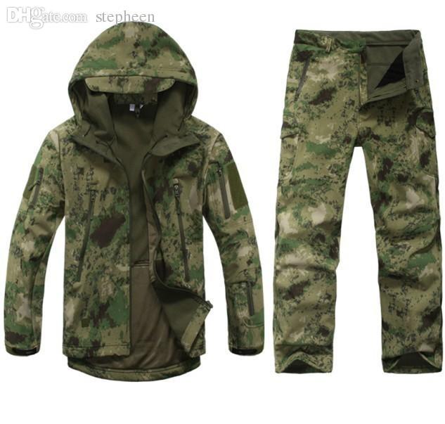 سقوط التكتيكية سوفتشيل رجال الجيش الرياضة للماء الصيد الملابس مجموعة سترة + السراويل التمويه سترة بدلة خارجية