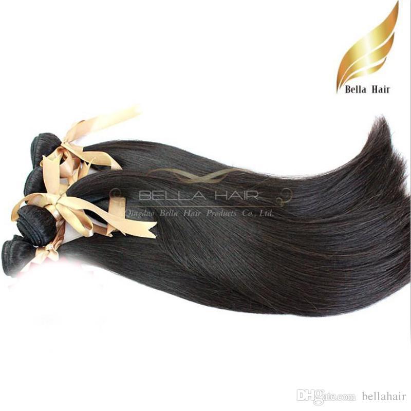 """8A 10 """"-34"""" 100% mongolisches Haar 3pcs / lot Menschenhaar spinnt gerade DHL-freies Verschiffen-natürliche Farbe Bella Haar"""