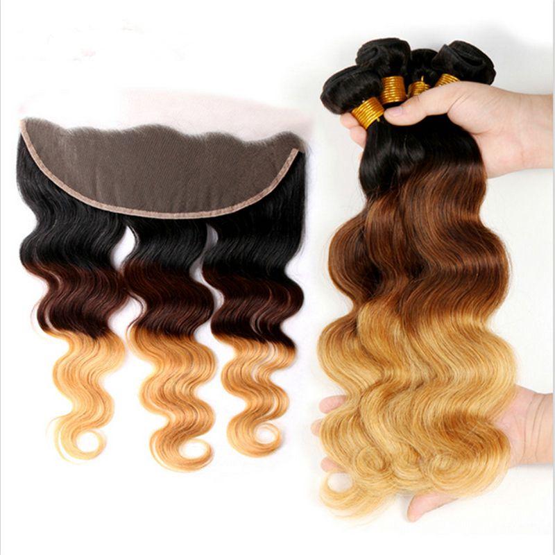 Honey Blonde # 1B / 4/27 paquetes de cabello con encaje frontal de oreja a oreja Full Lace frontal con cabello de Ombre teje 3 tonos