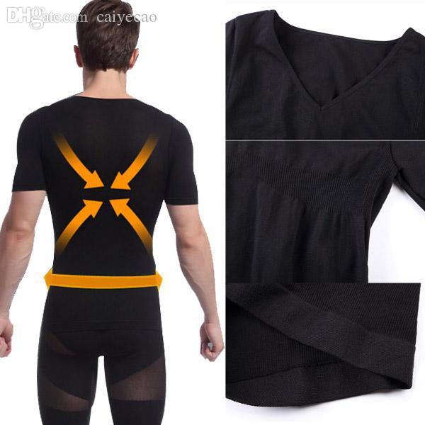 All'ingrosso-all'ingrosso Mens nero Shapewear Body Shaper Compression Shirt T-Shirt manica corta stretta Shapewear ZYD