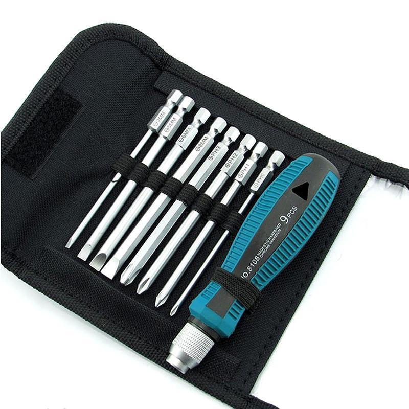 9 pcs ensembles tournevis comprennent tissu sac combinaison costume tournevis outils combinaison tournevis ordinateur téléphone appareil ménager outil de réparation