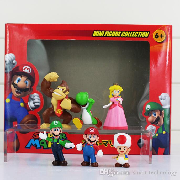 Super Mario Bros Peach Toad Mario Luigi Yoshi Donkey Kong PVC Action Figure Toys Square Box 6pcs of set