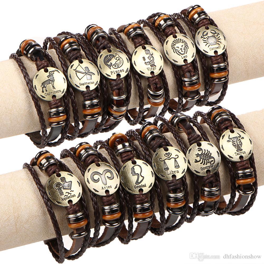Fashion 12 Zodiac Signs Bracelet Punk Leather Bracelet Wooden Bead + Black  Gallstone Woven Multilayer Wrap