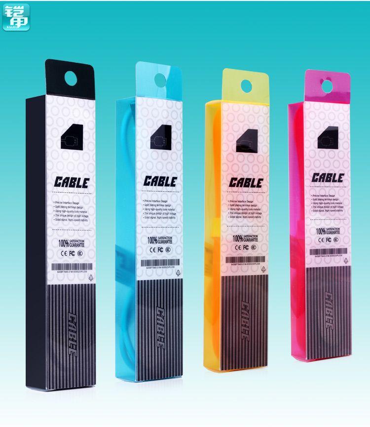 البلاستيك كريستال حزمة البيع بالتجزئة كيس التغليف مربع كابل للآيفون 6 5 5S 5C 4 4S لسامسونج غالاكسي S3 S4 S5 ملاحظة 2 3 4 الكابلات 1M 3Ft