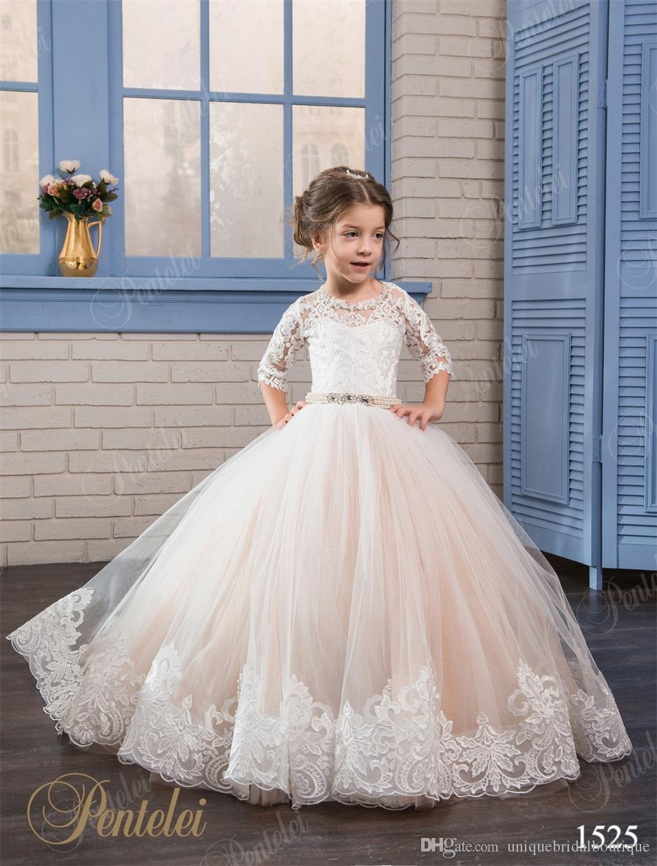 Cheap Flower Girls Dresses 2017 Pentelei with 3/4 Long Sleeves and Lace-Up Back Appliques Tulle Ballgown Little Girls Gowns for Party Prom