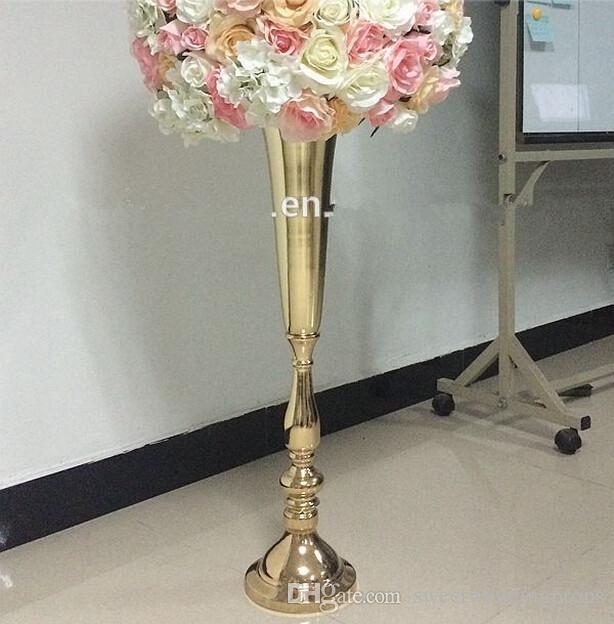 dahil hiçbir çiçek) toptan lüks sahne dekorasyon altın çiçek standı düğün ve otel
