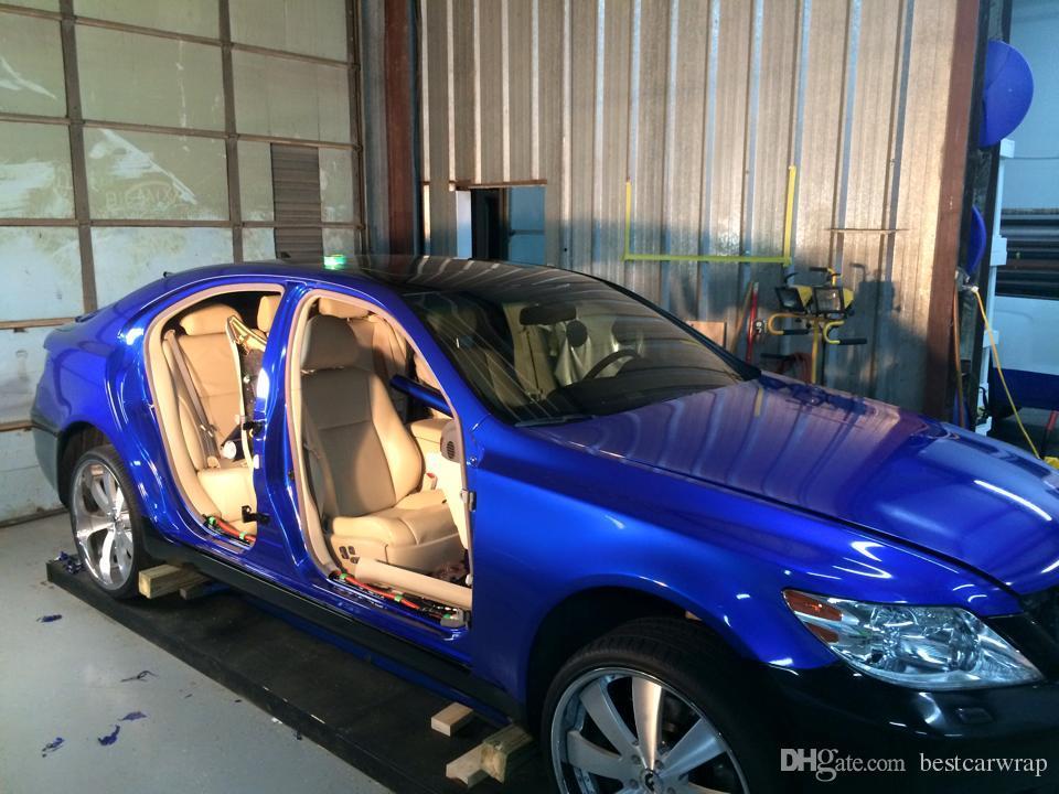 Глянцевая металлическая синяя Виниловая обертка автомобильная обертка с воздушным пузырем без блеска металлическая темно-синяя полная обертка для автомобиля размер: 1.52*20 м / рулон