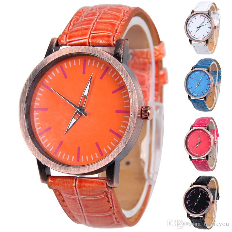 New Arrival Fashion Women Quartz Sport Watch Faux Leather PU Band Round Dial Shaped Dress Watch Simple Style Casual Lady Watch