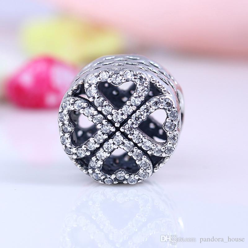 Nouveau Vrai 925 Sterling Sterling Non plaqué Love Coeur Pétale Charms Charmes Européen Beads Fit Pandora Bracelet Bracelet DIY Bijoux