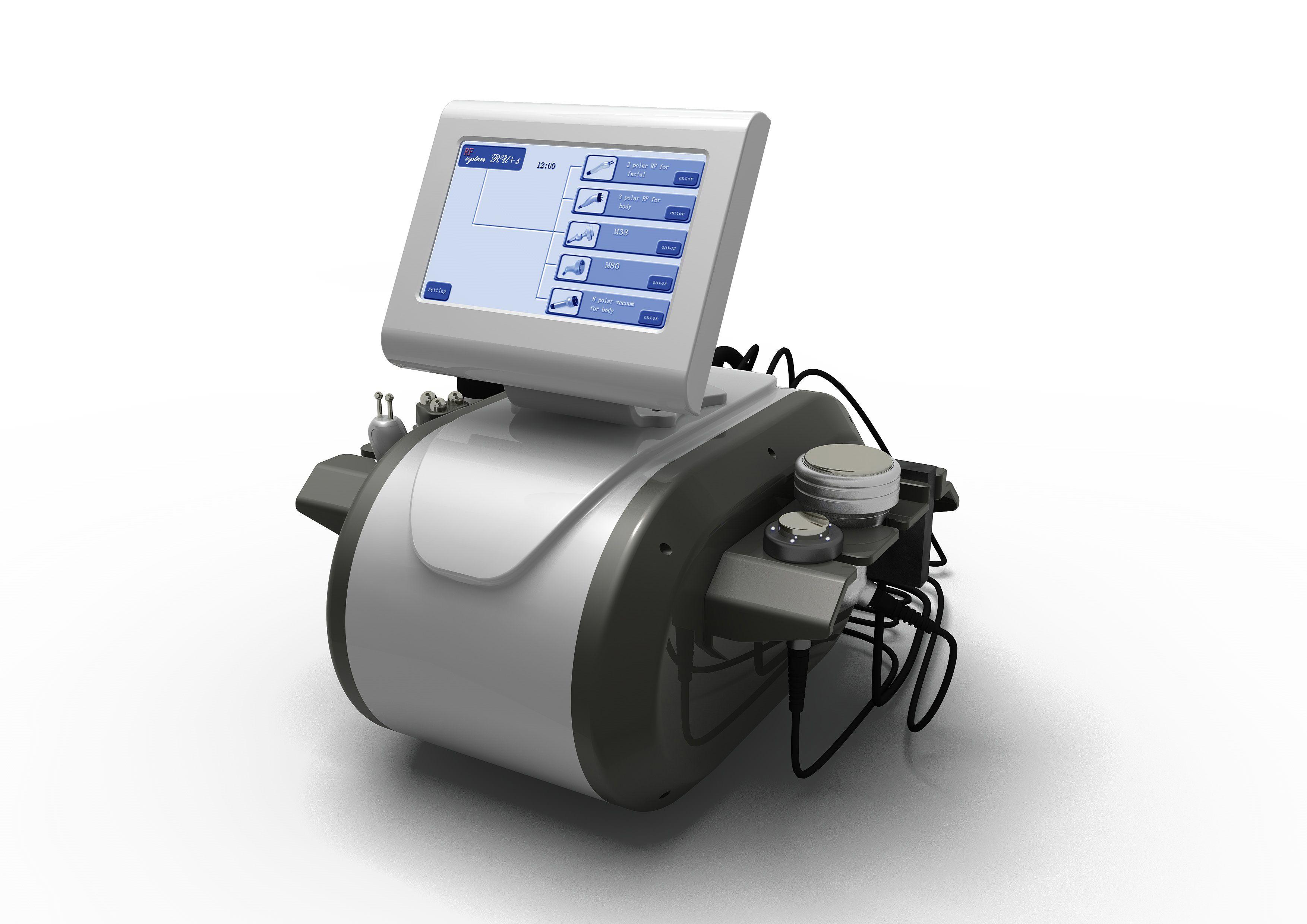 5 en 1 Cavitación ultrasónica de ultrasonido y RF Liposuction Vacuum Slimming Cavifing Máquina de RF multipolar