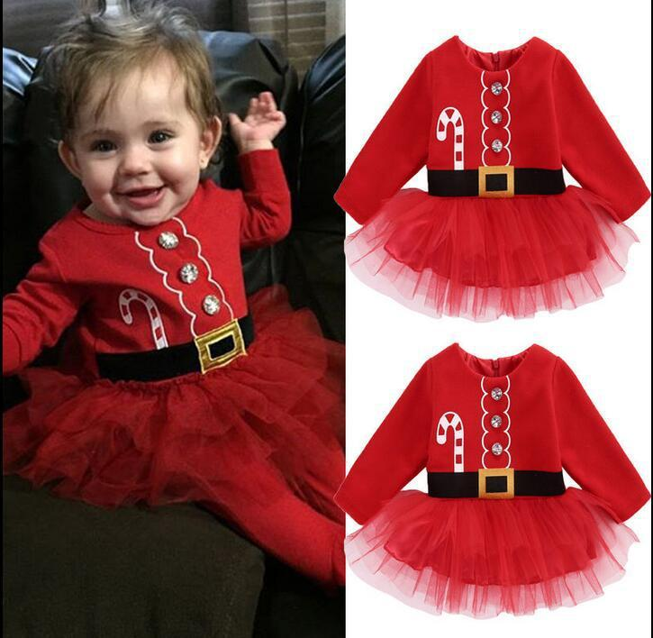 Baby girls INS Christmas TUTU dresses lace dress children Long sleeve Dress baby Xmas pattern Santa Claus clothes for 1-6Y